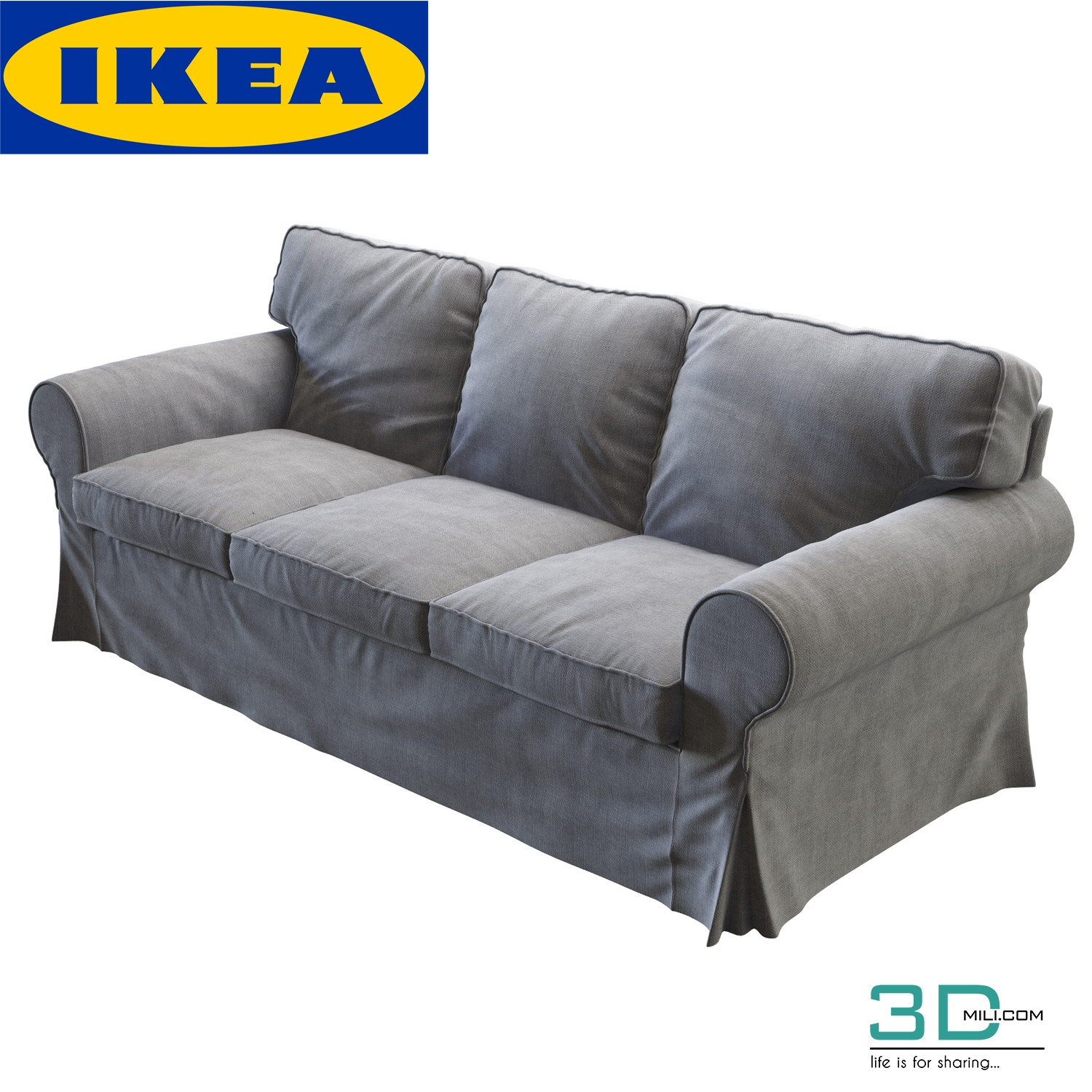 226 Ikea Ektorp Three Seat Sofa 3d Mili Download 3d