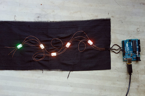 Machine sewn Neopixel strip