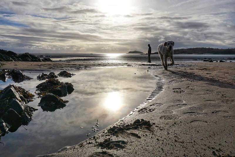 Reflections on Rockcliffe beach, Scotland