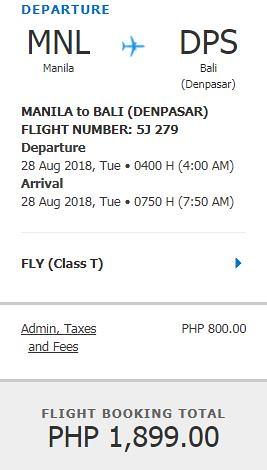 Manila to Bali Promo August 28, 2018