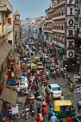 Traffic in Main Bazar, Paharganj, New Delhi, India