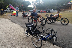 Kerrville weekend 023 Saturday trike discussions and test rides from Rebecca di Luce