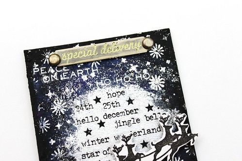 Meihsia Liu Simply Paper Crafts Mixed Media Tag Christmas Night Star Simon Says Stamp Tim Holtz 3