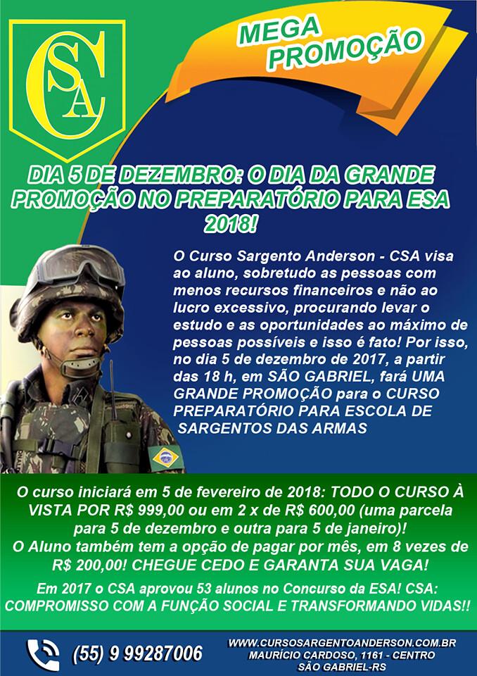 Aproveite a promoção do Curso Sargento Anderson para o Preparatório da ESA