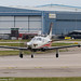HB-KRJ - 2016 build Socata TBM930, entering Runway 23L at Manchester prior to departure