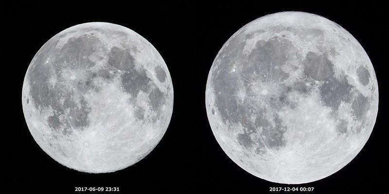 最遠の満月と最近の満月 (2017/6/9, 2017/12/4)
