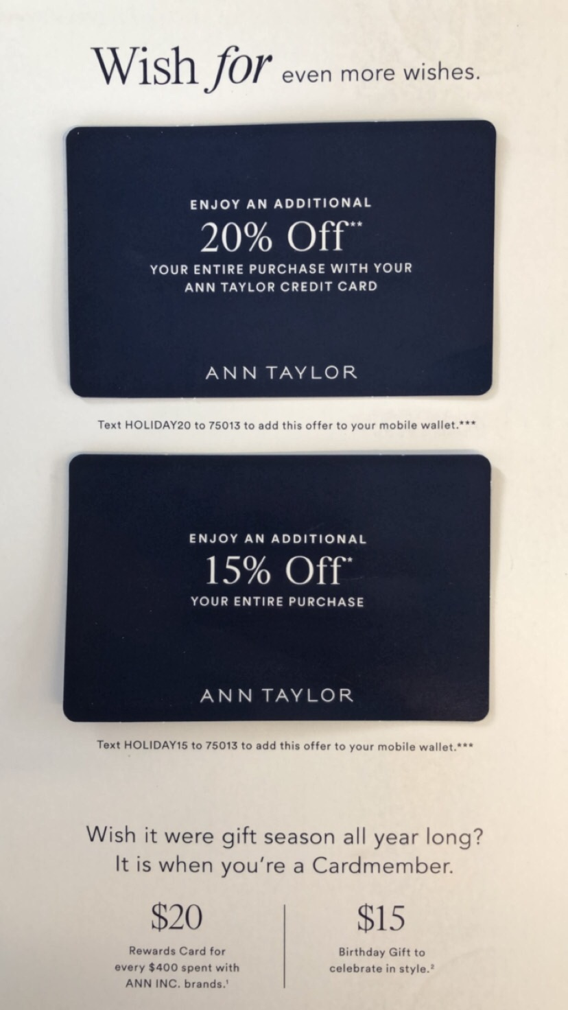 Ann Taylor Holiday Savings - Valid through January 4, 2018