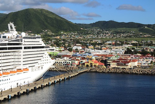 konomark msc fantasia cruise ship crucero stkitts caribbean island ocean sea beach front port zante basseterre tourist attraction pointofview seaport village outdoor day time sunny blue sky