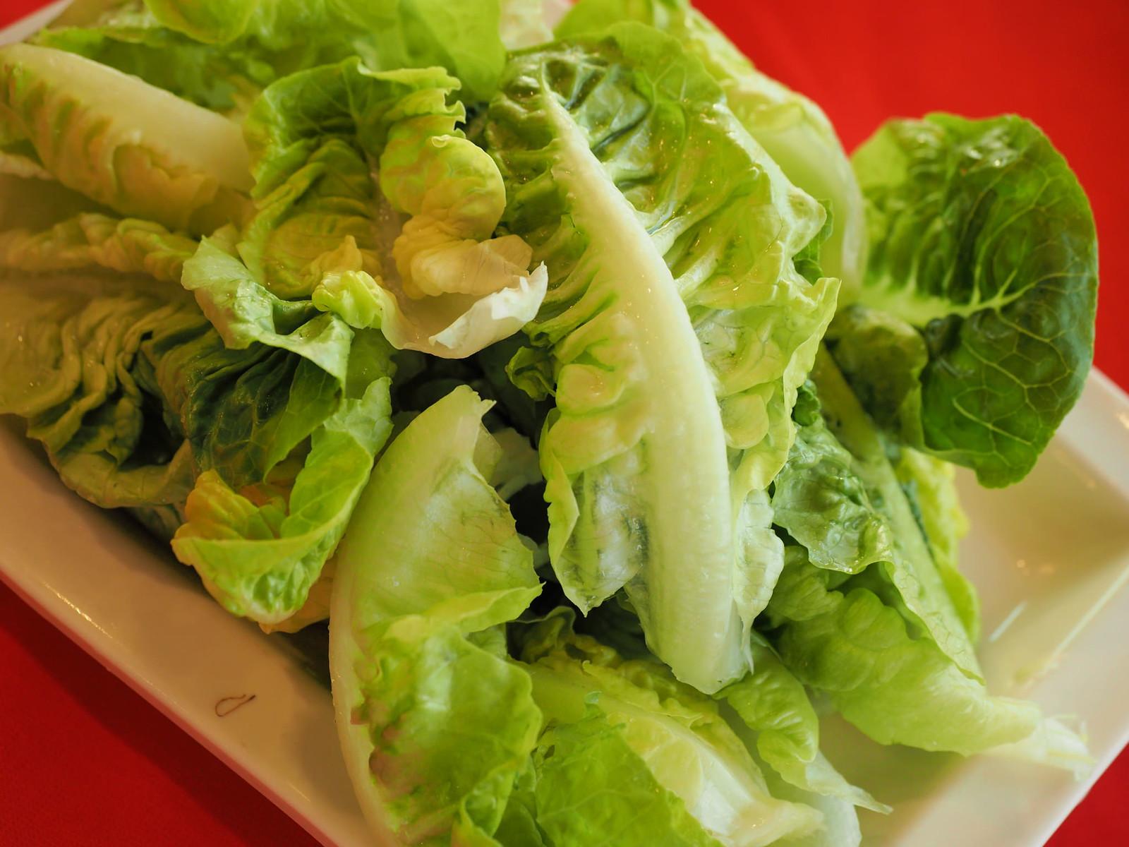 Fresh green Yao Mak (Romaine Lettuce) for the steamboat