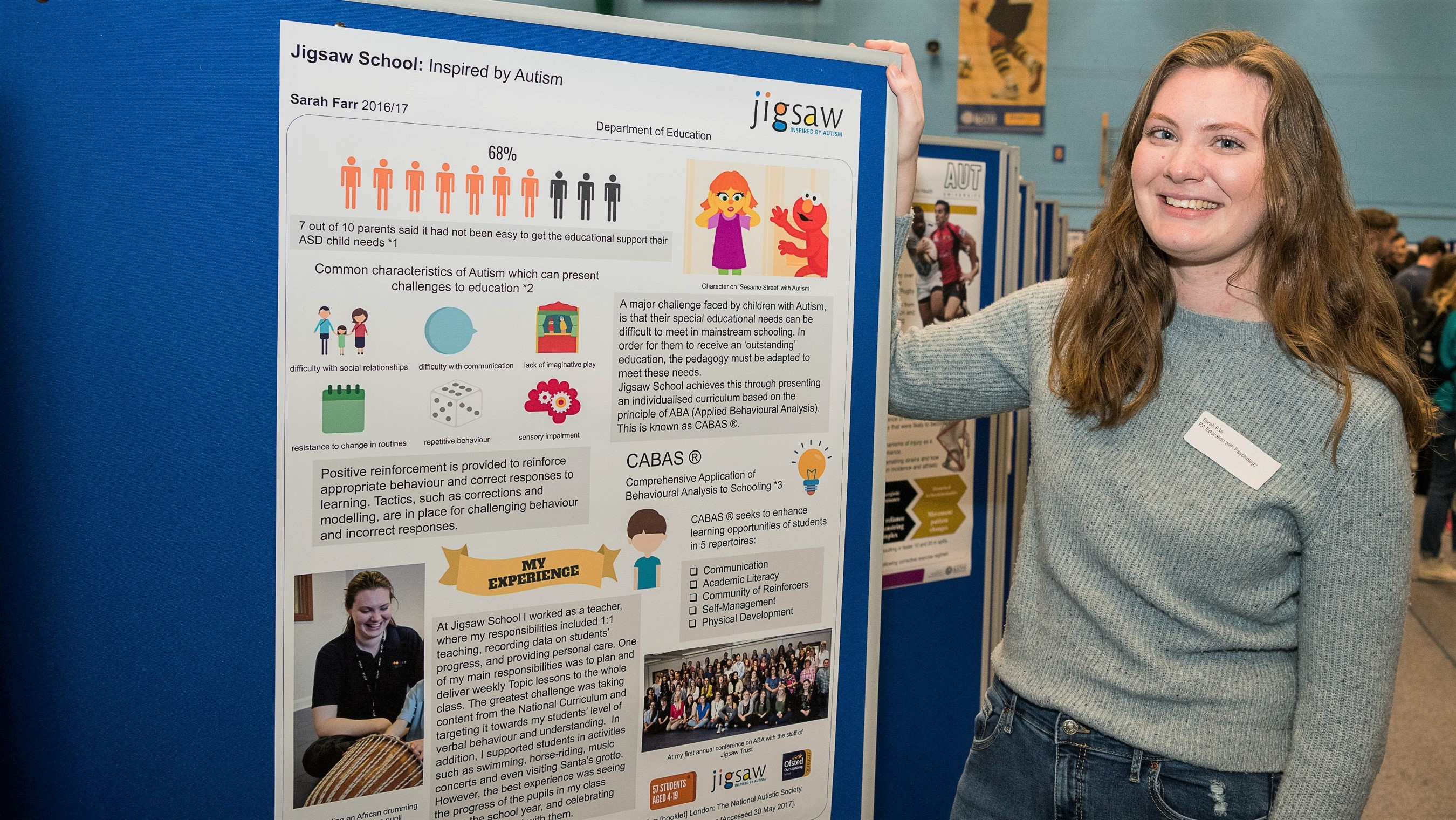 Sarah presenting her placement poster at the Faculty Placement Posters Exhibition