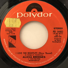 ALICIA BRIDGES:I LOVE THE NIGHTLIFE(DISCO 'ROUND)(LABEL SIDE-A)