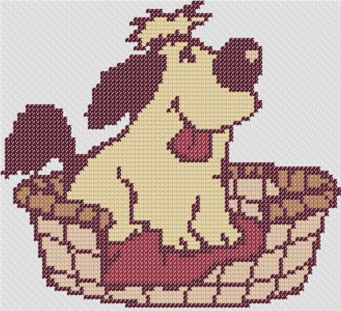 Preview of Cross stitch designs free download: Dog in a Basket