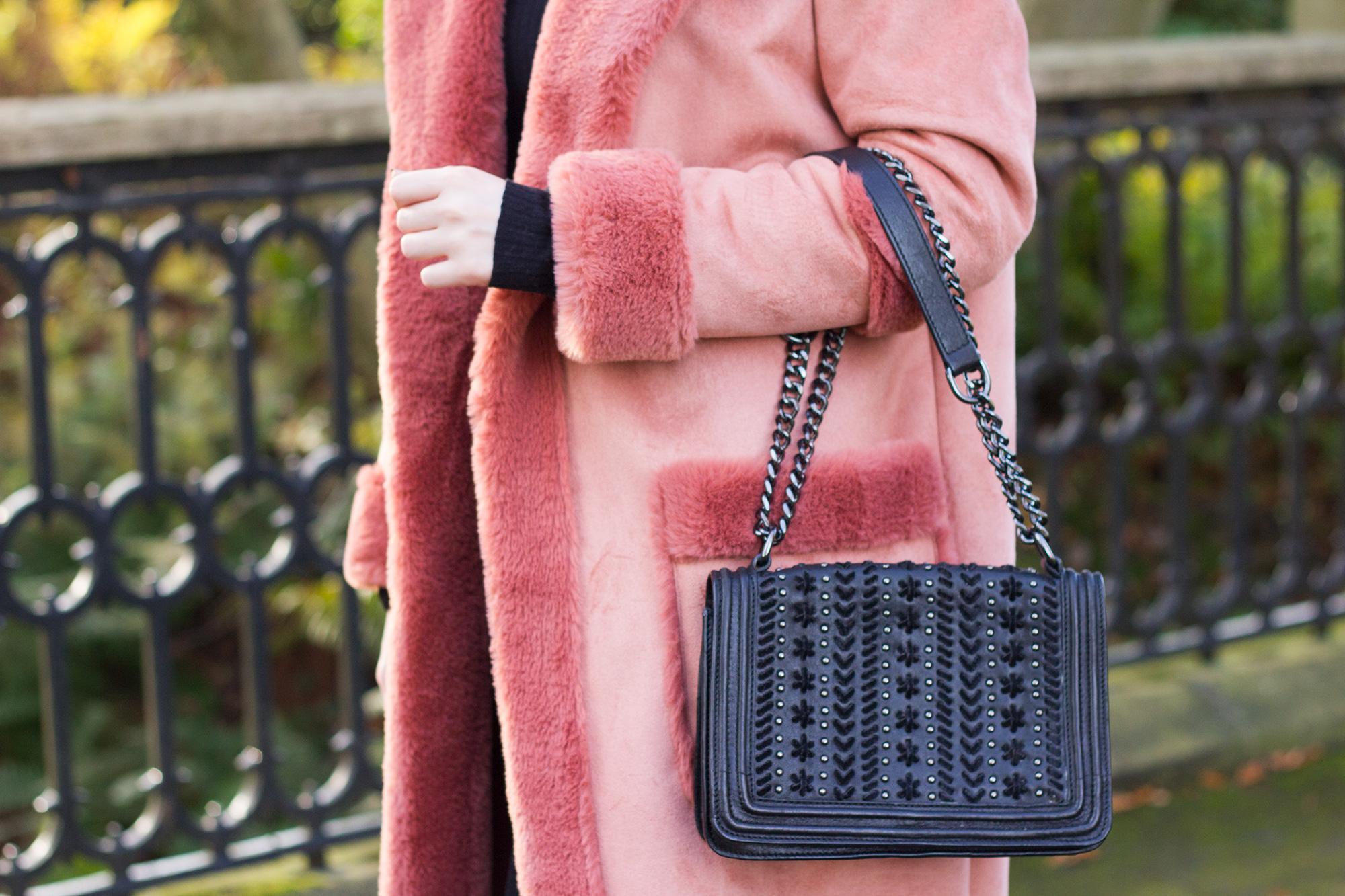 Zara-handbag-and-River-Island-Faux-Shearling-Coat