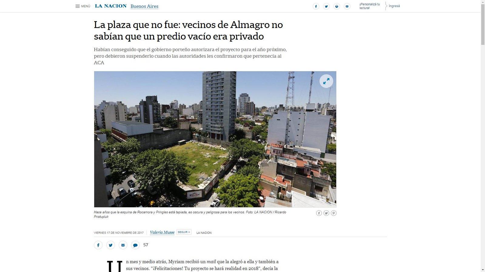 La Nación - Proyecto de plaza en Almagro 2