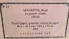 Rene Magritte - La Pensee Visible - Label