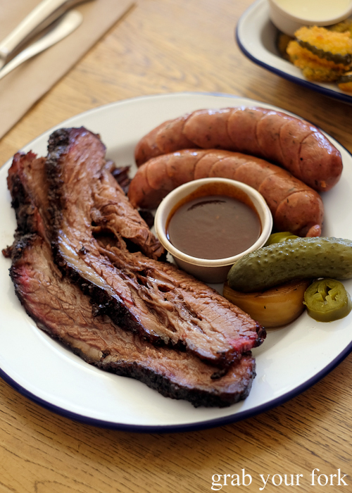 12 hour smoked brisket and Andouille sausage at Hughes Barbecue at The George Hotel in Waterloo Sydney