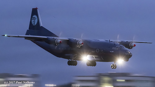 urcnt antonov an12 an12bk ukl5019 landing night transport turboprop freighter shannonairport