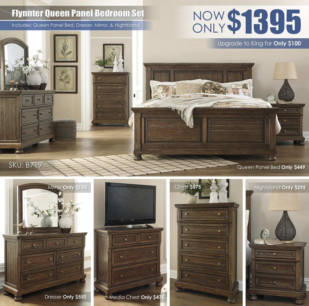 Flynnter Queen Panel Bedroom Set B719 Collage