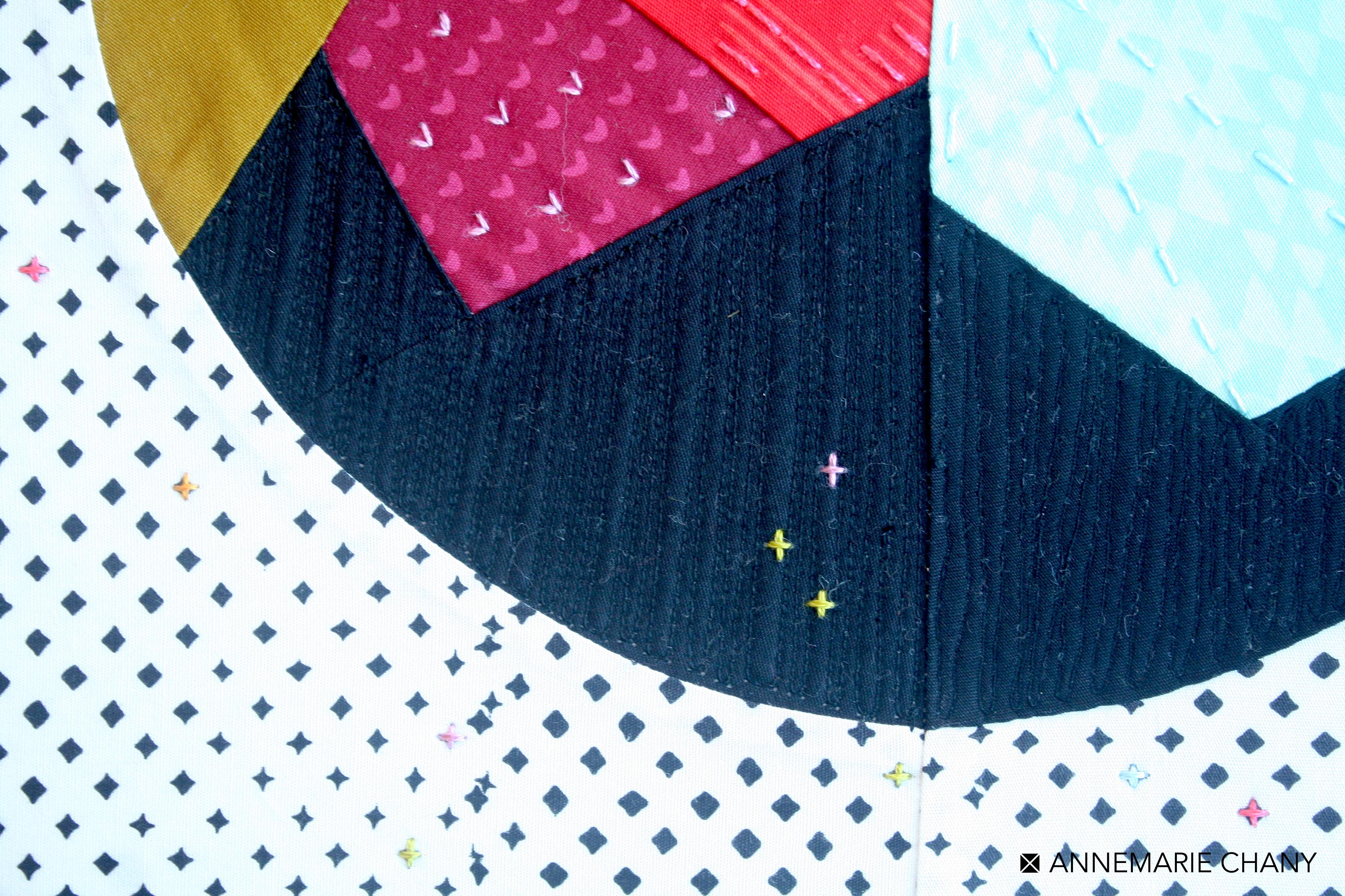 Matchstick Quilting detail Improv Hoop
