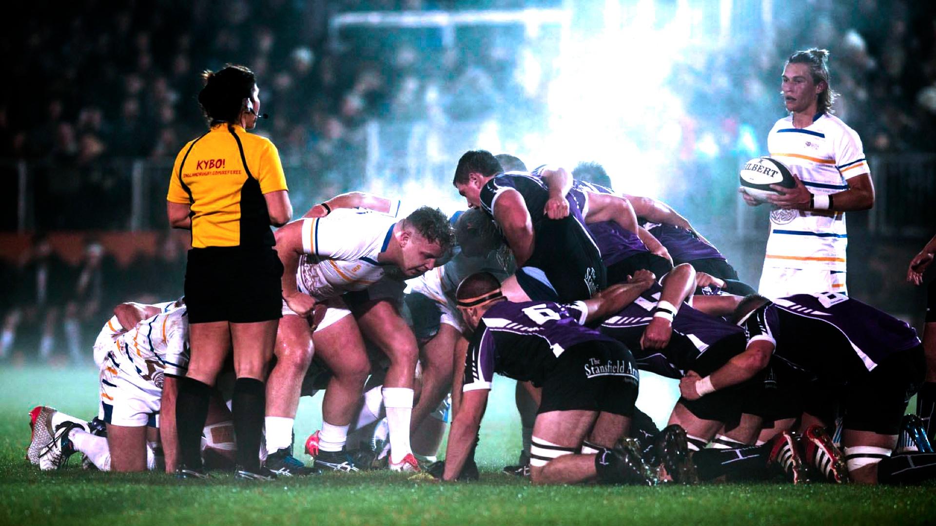 A Team Bath rugby scrum