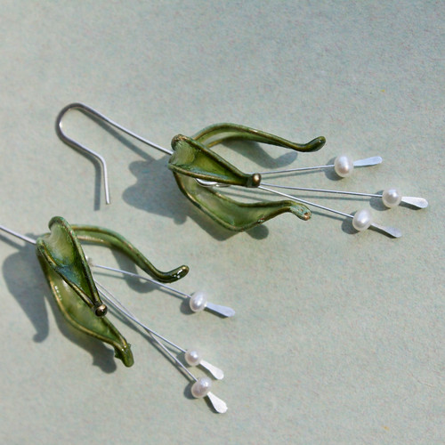 Moss Green Lily Paper Earrings by VERSO Jewelry