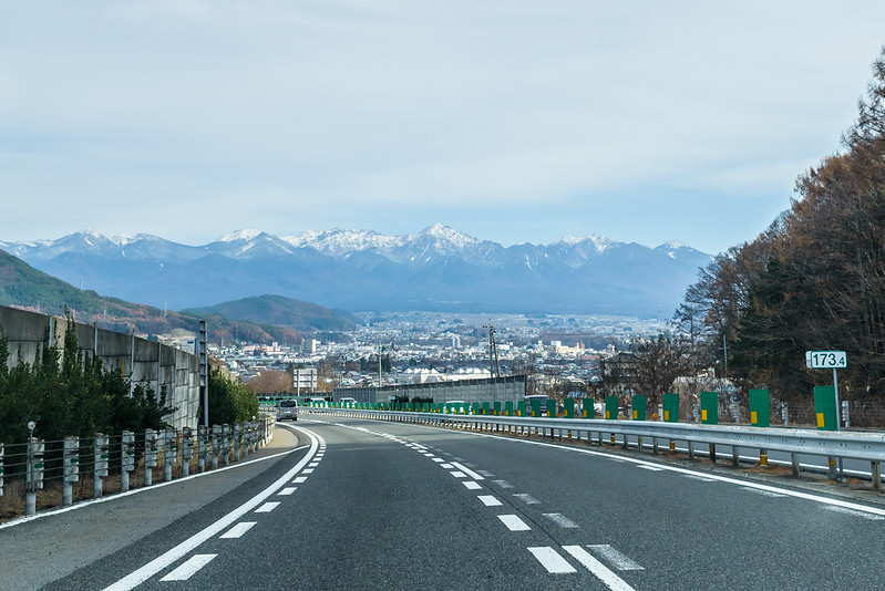 Mt. Yatsugatake seen from the expressway