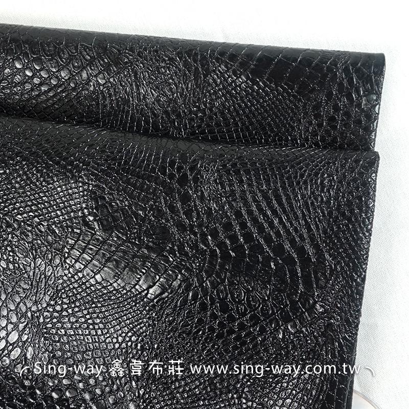 黑色鱷魚皮 動物皮紋 合成皮革 手工藝DIy 裝飾服裝布料 居家佈置 HB1790001