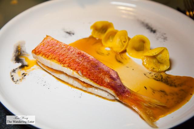 Red mullet, foie gras ravioli, red mullet consomme