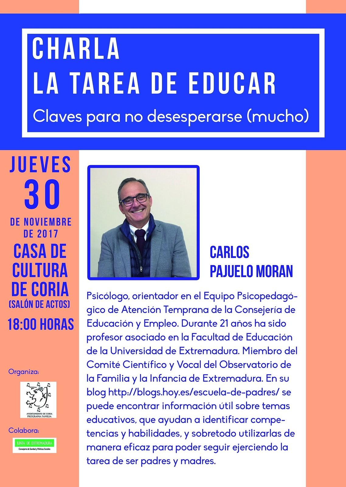 """Charla sobre la tarea de educar. """"Claves para no desesperarse (mucho)"""" con el Psicólogo Carlos Pajuelo"""