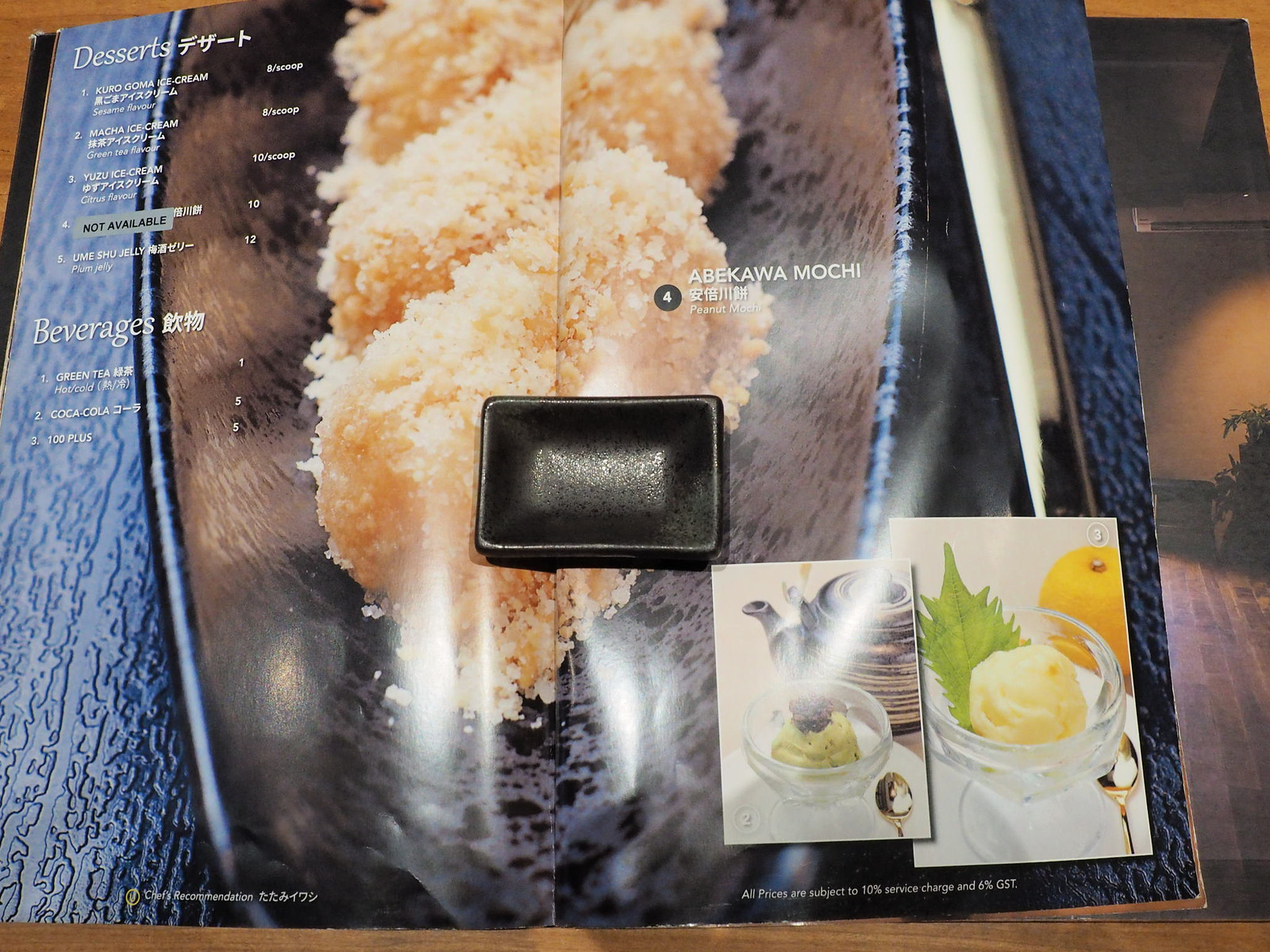 The desserts, beverages and Abekawa Mochi