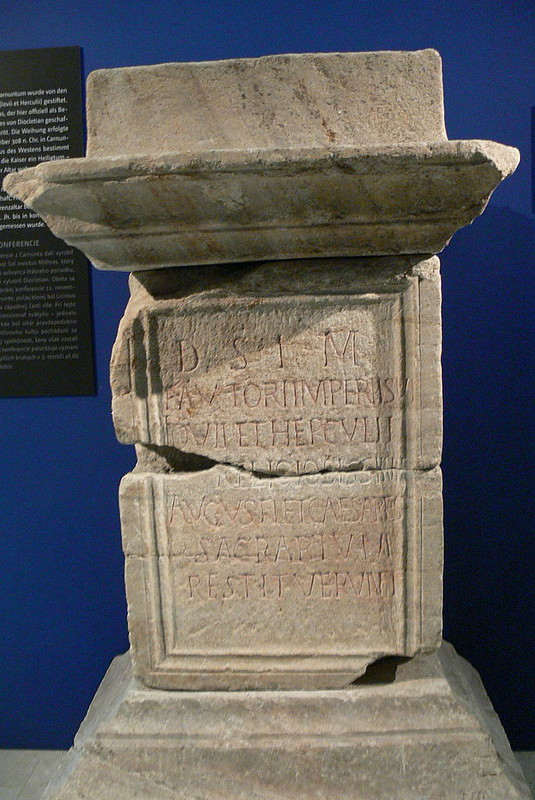 Altar dedicated by the 4 Roman emperors Galerius, Licinius, Maximinus Daia and Constantin to Mithras