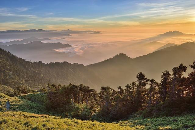 Golden sunset scenery,Mountain Hehuan