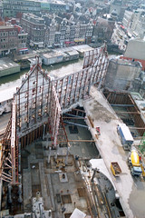 Historic facades in corset seen from tower crane
