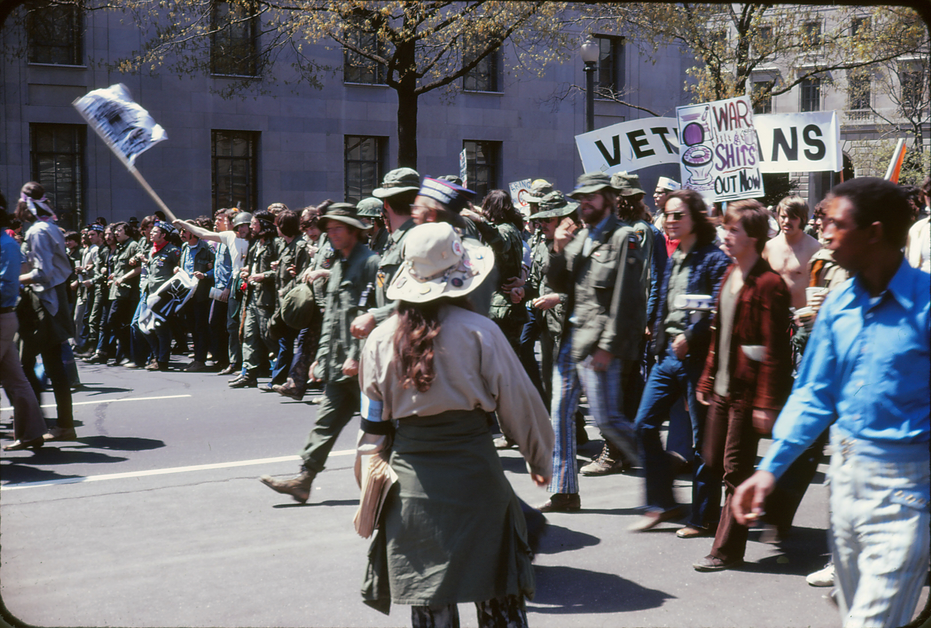Anti-war protest against the Vietnam War in Washington, D.C. on April 24, 1971, at the corner of Pennsylvania Avenue and 10th Street NW. Photograph taken by Leena A. Krohn.