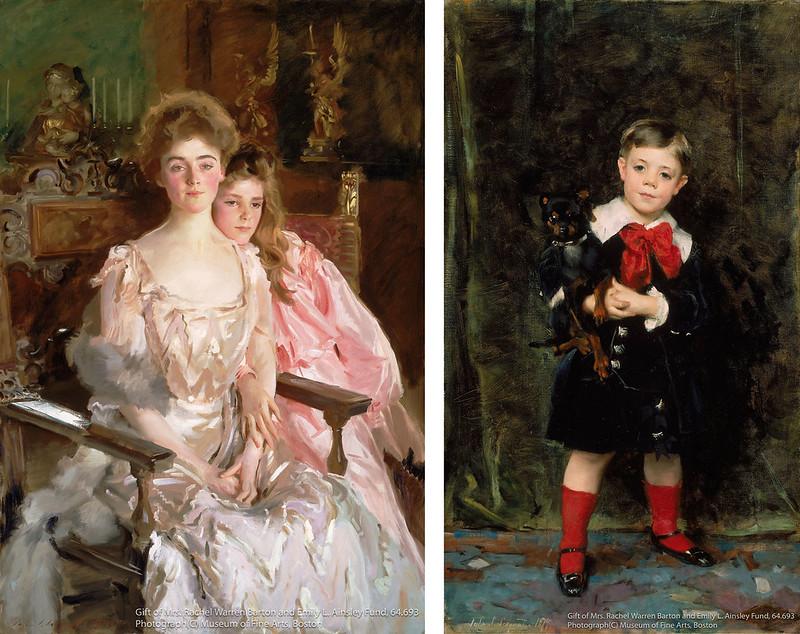 """""""左)ジョン・シンガー・サージェント《フィスク・ウォレン夫人(グレッチェン・オズグッド)と娘レイチェル》(1903年)ボストン美術館所蔵<br"""