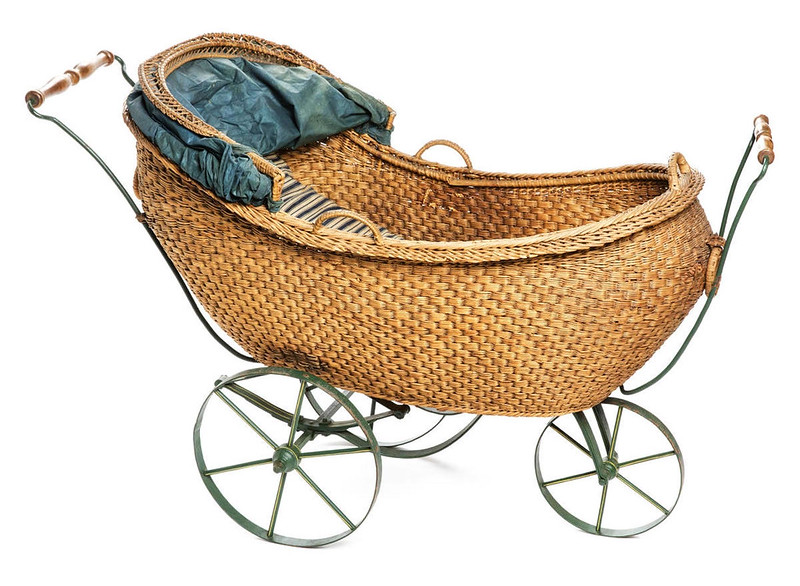 Pram with mattress and blanket that could be pushed or pulled c. 1866