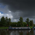 Dark skies over canal at Preston