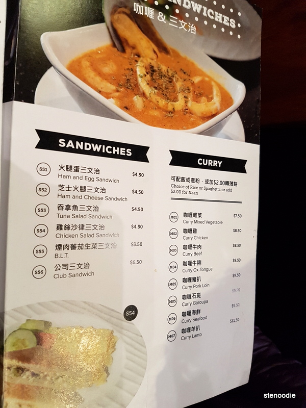 Sandwiches and curry menu