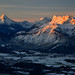 Winter sunrise view to the Berchtesgaden Alps