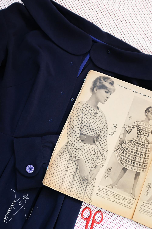 marchewkowa, blog, szycie, sewing, rękodzieło, handmade, moda, styl, vintage, retro, repro, 1950s, 1960s, Wrocław szyje, w starym stylu, Burda Moden 4/1960, April, sukienka, szmizjerka, shirtwaist dress, krepa, crepe