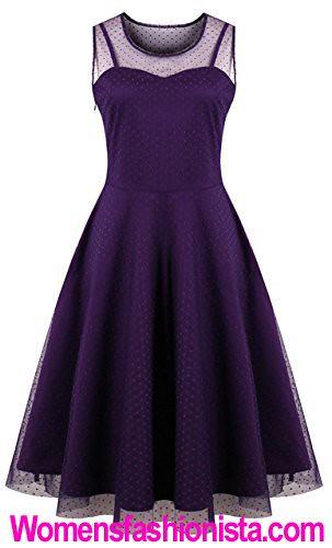 0642dc4c90 ... KILOLONE Womens 50s Plus Size Dresses Christmas Party Vintage Retro  Bridesmaid Evening Lace Sleeveless Cocktail Dress