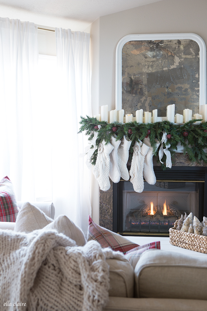 Classic Garland Fireplace Mantle Decorations White Stockings Candles Cozy Holiday Decor