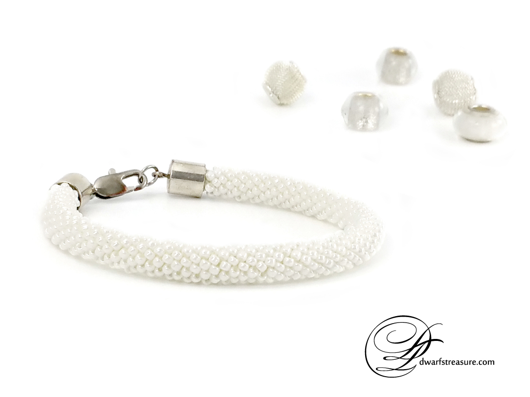 custom made white beaded crochet bangle