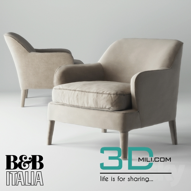 192 armchair maxalto b b italia febo 3d mili download 3d model free 3d models 3d model. Black Bedroom Furniture Sets. Home Design Ideas