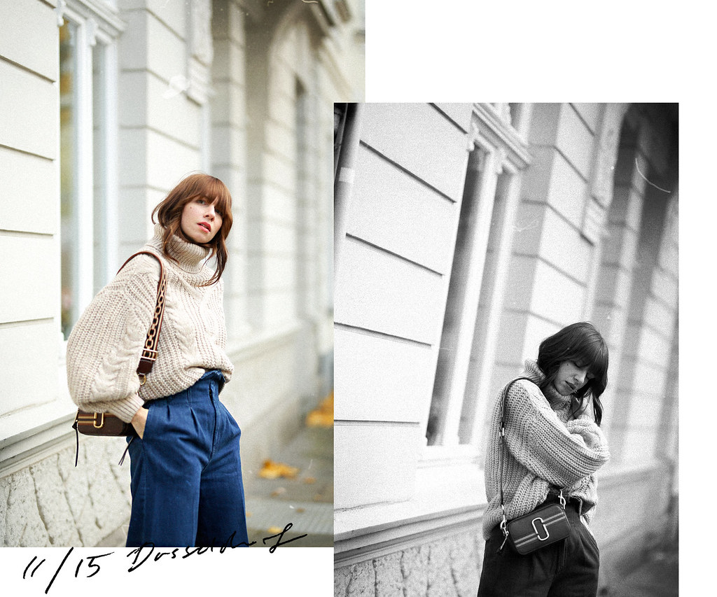 outfit ootd lookbook post seventies siebziger 70s styling marc jacobs snapshot bag suede heels paperbag jeans cable knit styling analog style fashionblogger düsseldorf germany germanblogger max bechmann fotografie film ricarda schernus cats & dogs blog 4