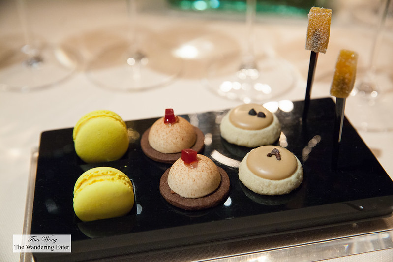 Pre-dessert - Passion fruit macaron, raspberry tart, coffee tart, passion fruit pâte de fruit