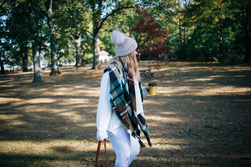Olive Plaid Oversized Scarf All Winter White Outfit Pom Pom Beanie