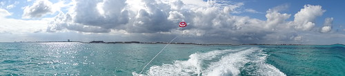 Picture of Us Parasailing in Cancun Mexico