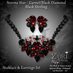 Norena Star - GarnetBlack DiaSterling