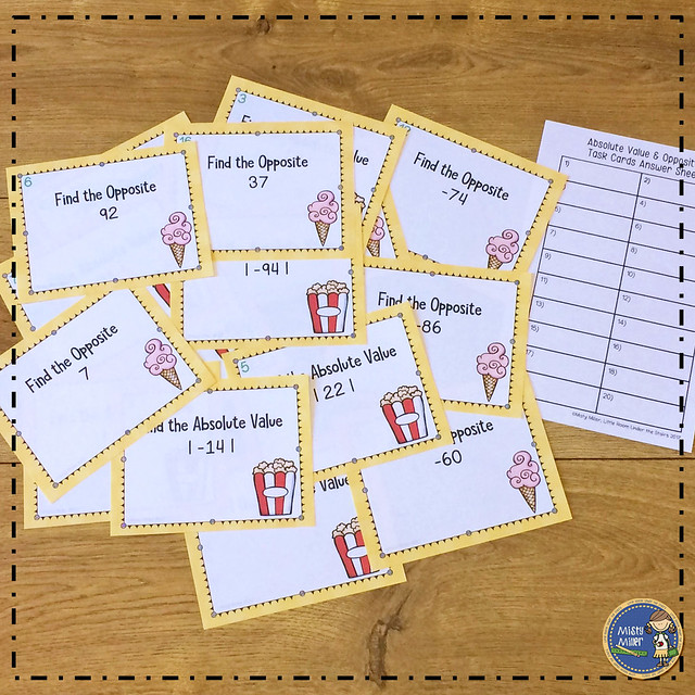 after tests: things for early finishers to do after a test; integers number sense stations; absolute value and opposites task cards